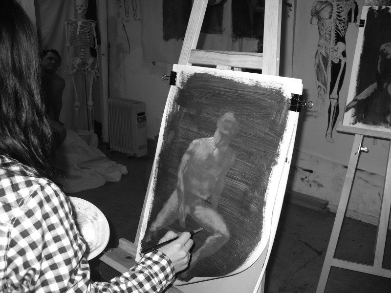 cours de peinture technique d'après modèle vivant, collectif d'un atelier à l'autre