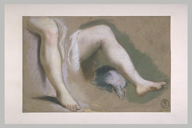 Etude de deux jambes nues d'une femme assise