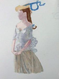 Peinture d'une jeune fille réalisée pendant un cours d'aquarelle