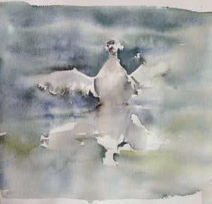 Oie sur un lac peinte pendant un cours d'aquarelle