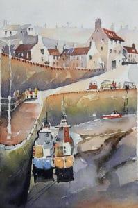 Village côtier de Bretagne réalisé pendant un cours d'aquarelle