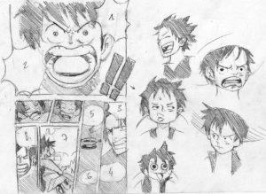 Etude d'une page de One Piece d'Eiichiro Oda et de Luffy par Olivier Figueroa